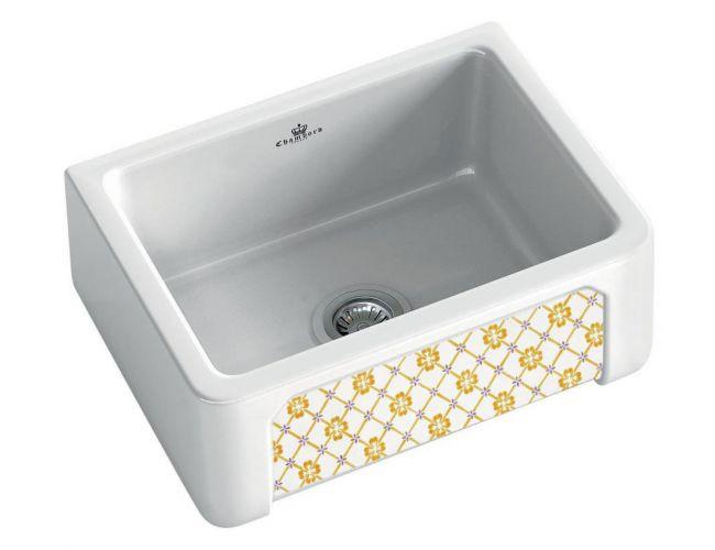 An image of Chambord Henri I Provence Decorated Ceramic Kitchen Sink