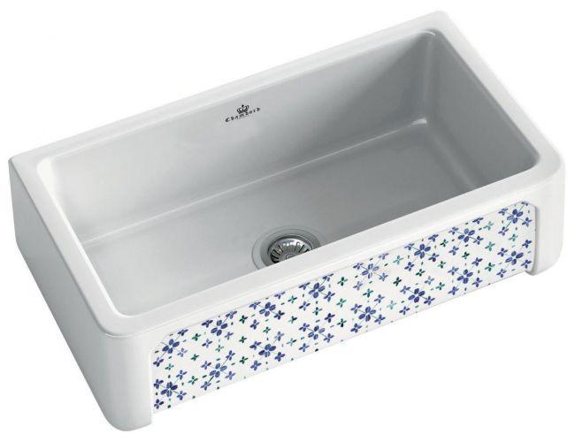 An image of Chambord Henri II Bretagne Decorated Ceramic Kitchen Sink