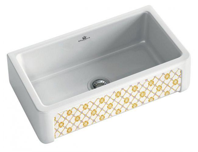 An image of Chambord Henri II Provence Decorated Ceramic Kitchen Sink