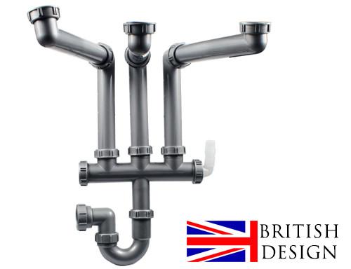 An image of British Precision Plumbing Triple Bowl Plumbing Kit