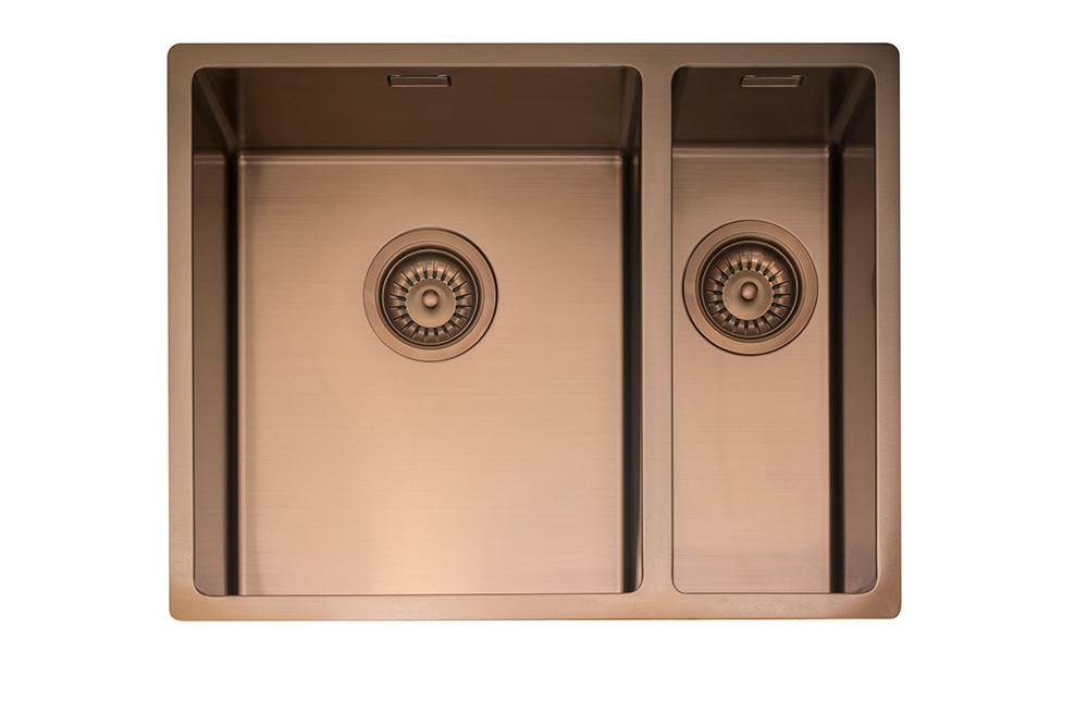 An image of Caple MODE3415/R/CO Copper One + Half Bowl Kitchen Sink